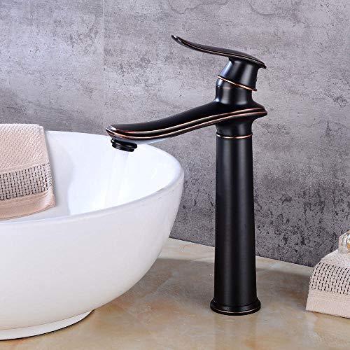 VZJSLT Moderne waterkraan, retro-waterkraan, 360 graden draaibaar, roestvrij staal, waterkraan, zwart, ouderwets, kraan boven tegenbassin, koud waterkraanbadkamer, retro kraan