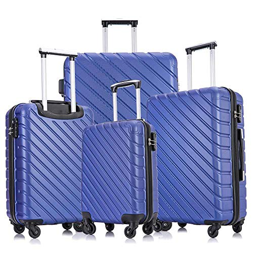 Apelila Carry On Luggage Sets,Travel Suitcase Spinner Hardshell Lightweight w/Covers and Hangers (Blue, 4 Piece -18, 20,24,28 inchs)