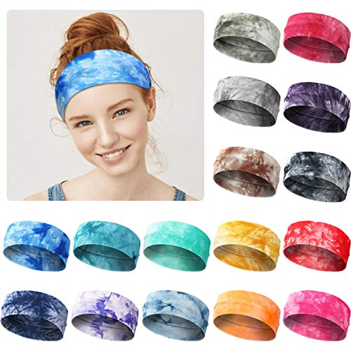 16 Pieces Tie Dye Headbands Stretchy Hairbands Elastic Yoga Sports Headbands for Women Girls Adults, 16 Colors