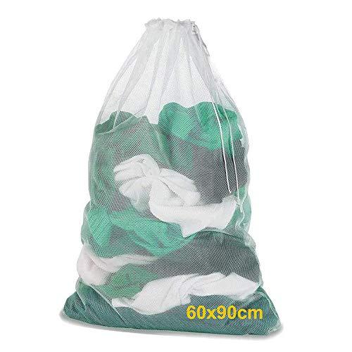 Wäschenetz für Waschmaschine, ARPDJK 60 x 90 CM Wiederverwendbarer Kordelzug Wäschesack für Zarte Bluse, Socken, Gardinen, Spielzeug, Waschbarer Extra Groß Wäschebeutel - XXL