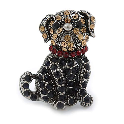 Avalaya Small Crystal Bulldog Puppy Dog Brooch in Pewter Tone Metal - 30mm Tall
