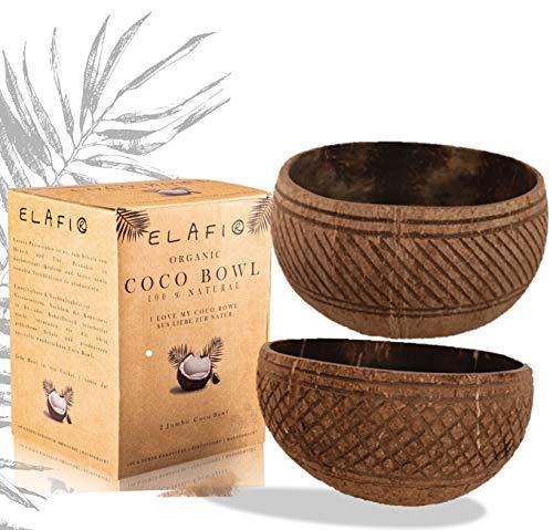 ELAFI® Coconut Bowls | Buddha Bowl | Kokos Schale für Deine Acai Bowl | Müslischale Kokosnuss aus echter Cocos | Jumbo Bowl Kokosnuss (Coco Carving Bowls)