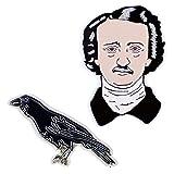 The Unemployed Philosophers Guild Poe and Raven Enamel Pin Set - 2 Unique Colored Metal Lapel Pins