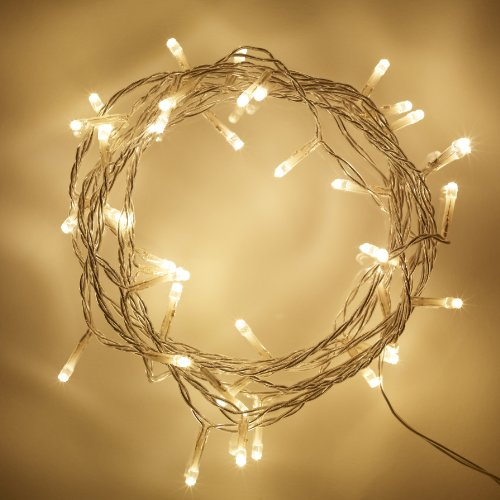 Lights4fun 50 Warm White LED Indoor Fairy Lights Clear Cable Plug in 24v 4m IP20