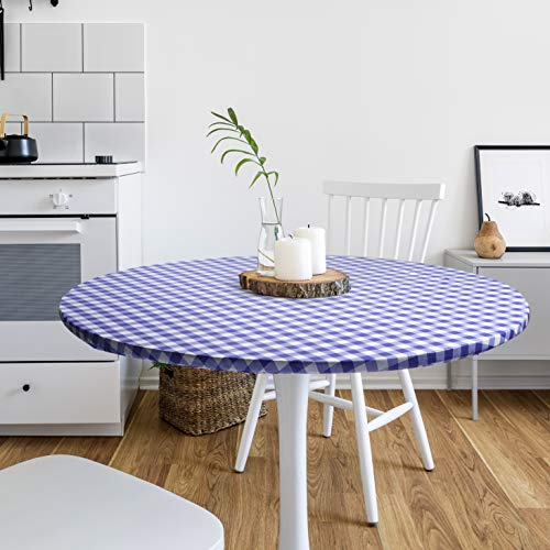 DecorGreat Fitted Round Vinyl Dining Tablecloth, Waterproof Table Covers with Elastic and Flannel Backing, Blue Checkered Design fits Small and Large Tables