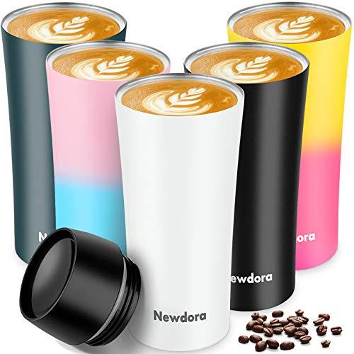 Newdora Thermobecher, Kaffee to go 380ml Becher Travel Mug Isolierbecher Kaffeebecher BPA-frei, Auslaufsicher Reisebecher für Kaffee,Tee,Trinkflasche für Reisen,Arbeit,Schule,Fahren (Weiß)