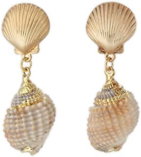 Gold Tone Scallop and Golden Accent Seashell Drop Earrings