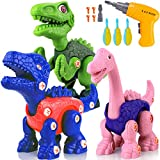 VEARMOAD Take Apart Dinosaur Toys,Building Toy Set with Electric Drill,Construction Engineering Play Kit, STEM Learning Toys for Boys Kids Girls 3 4 5 6 7+ Year Old