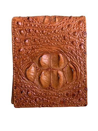 Cartera de piel de cocodrilo auténtica auténtica de cocodrilo jorobado con diseño vintage para hombre y estilo vintage para más elegante y minimalista.