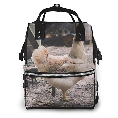 NHJYU Wickeltasche, Large Capacity Waterproof Travel Ma-na-ger,baby Care Replacement Bag Versatile Stylish And Durable, Suitable For Mom And Dad,White Hen