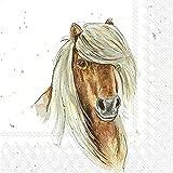 IHR - Tovaglioli di carta stampati a 3 strati, confezione da 20, dimensioni 33 x 33 cm, motivo: cavallo degli amici della fattoria