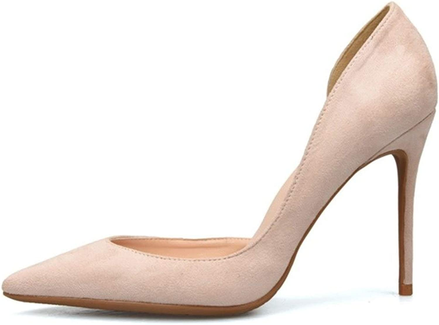 ZerenQ D'Orsay Pumps for Women High Stiletto Heels Side Cut Sexy Pointed Toe Dress Sandals for Ladies Party Wedding shoes Slip On Suede Pumps Durable (color   Nude 10 cm Heel, Size   6.5 M US)
