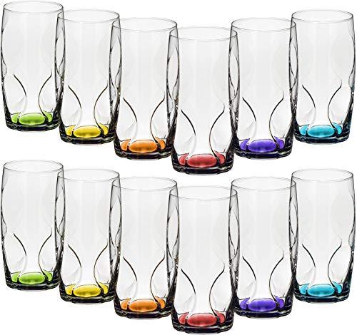 com-four® 12x Trinkgläser im stilvollen modernen Design, spülmaschinenfest (365 ml - 12 Stück)