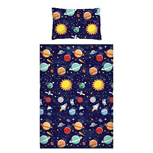 Spazio bambini biancheria da letto 100% cotone 200fili navy pianeti Rockets Stars, Single Duvet Cover + 1 Pillowcase