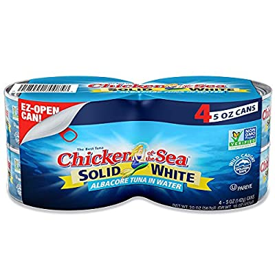 Chicken of the Sea White Albacore Tuna in Water, Solid, 5 Ounce Cans (Pack of 4)