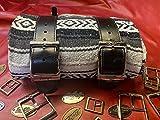 La Rosa Design Mexican Serape Roll-up Blanket with Black Leather Belts- Black/White/Gray Serape