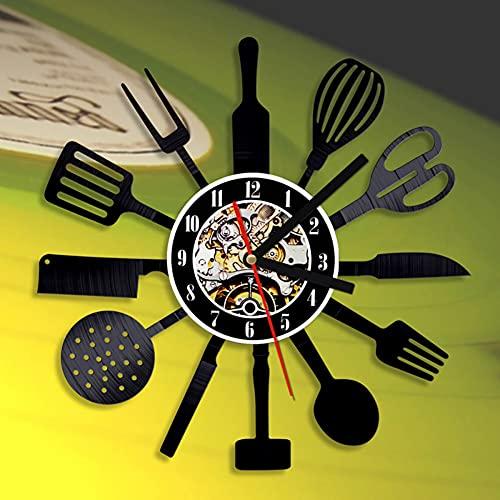 LQWE Reloj De Pared Vintage Accesorios De Decoración del Hogar Diseño Moderno Reloj De Vinilo Colgante Reloj De Pared Reloj Único 12' Idea de Regalo Creativo Vinilo Pared Reloj Cuchillería