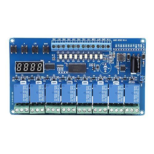 8-Kanal-Zeitrelaismodul mit Optokoppler-Isolation, High- und Low-Level-Trigger-Anpassung, verzögerter Selbstsperrzyklus-Timing-Linkage-Control-Multifunktion, 8-36-V-Relais-Schnittstellenkarte mit LED