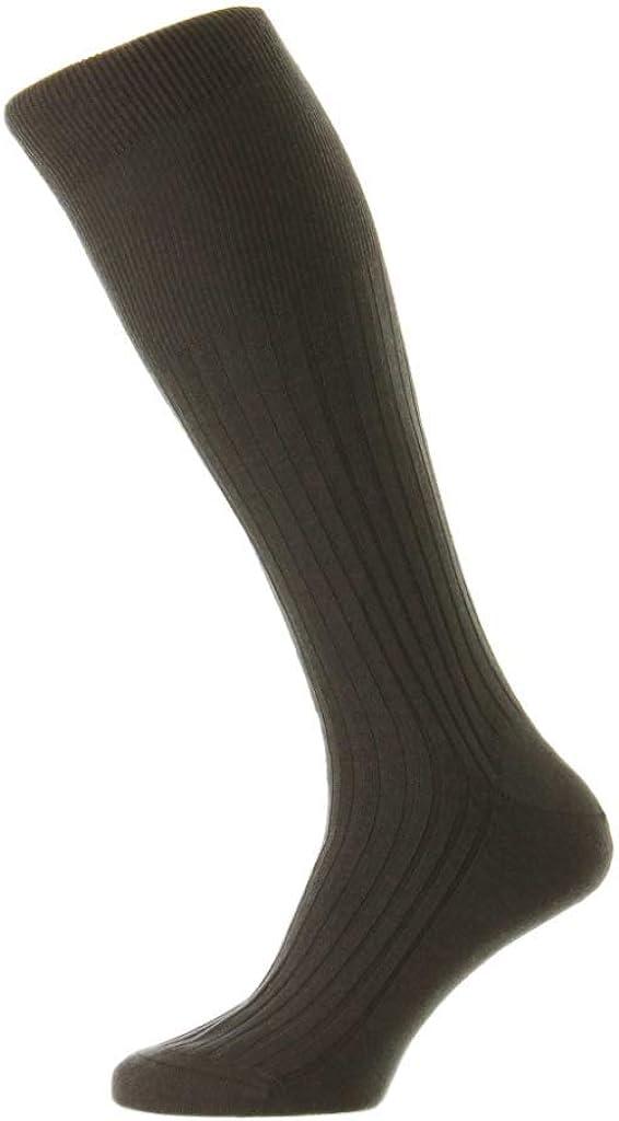 Pantherella Mens Rutherford Over The Calf Merino Royale Solid Ribbed Dress Socks