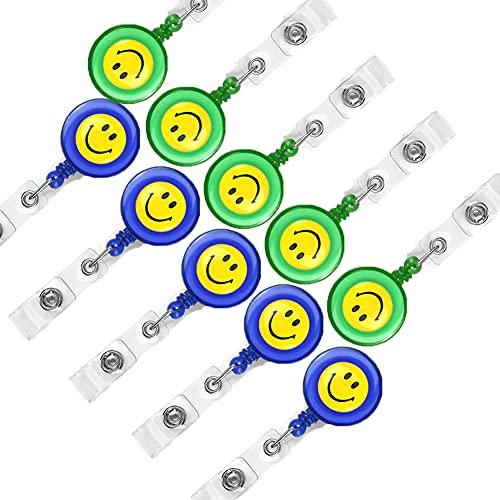 Zhioudz 10 Porta Carrete Insignia Carrete RetráCtil De Tarjeta Clip, Pinza Portatarjetas RetráCtiles Para Colegios, Oficinas, Dni, Llaveros Y Accesorios De Clip Para CinturóN (Azul, Verde)
