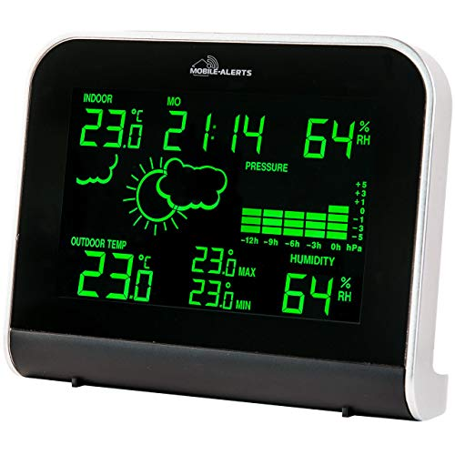 MA 10920 – Wetterstation mit Anbindung an das MOBILE ALERTS Haus-Überwachungs-System, Übertragung der Werte auch das Smartphone, LED Anzeige in verschiedenen Leuchtmodi