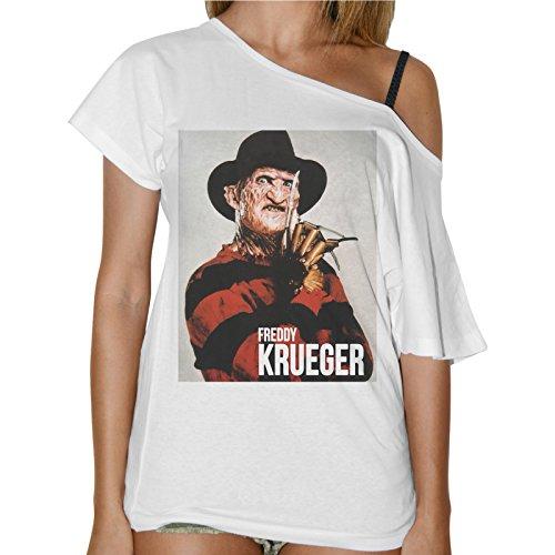 thedifferent Camiseta para Mujer Cuello Barco Freddy Krueger Pesadilla Película de Terror–Blanco