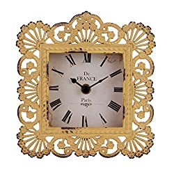 NIKKY HOME Vintage Table Clock, Shabby Chic Decorative Pewter Desk Clock Battery Operated for Living Room Bathroom Shelf, Yellow