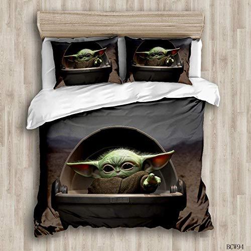 Weiche Bettwäsche-Set Kissenbezug Bettbezug,3-teiliger Bettbezug, Yoda Baby Muster Bettbezug, 3D Star Wars Yoda Print Bettbezug, Polyester Cartoon Bettbezug-Bcw94_Full: 79