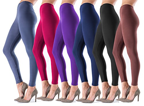 LMB Women's Ultra Soft Leggings Stretch Fit 40+ Colors - One Size - Plus Size (One Size Fits Most (XS - XL), 6-Pack (Black-Brown-Burgundy-Charcoal Grey-Navy-Purple))