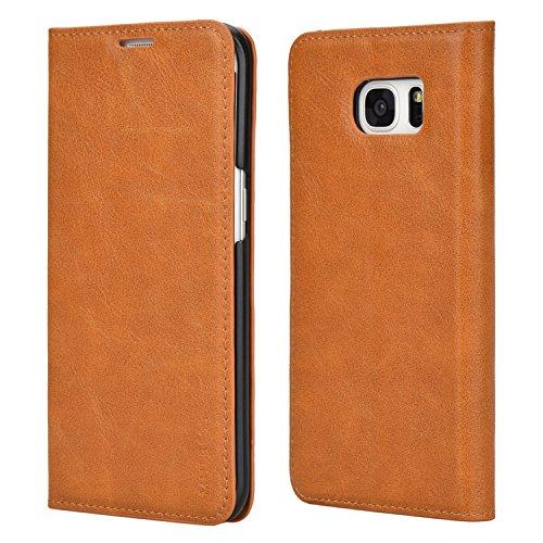 Mulbess Cover per Samsung Galaxy S7 Edge, Custodia Pelle con Funzione Stand per Samsung Galaxy S7 Edge Flip Case, Marrone