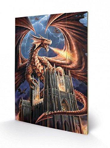 1art1 Gothic - Dragon's Fury, Anne Stokes Poster Auf Holz 60 x 40 cm