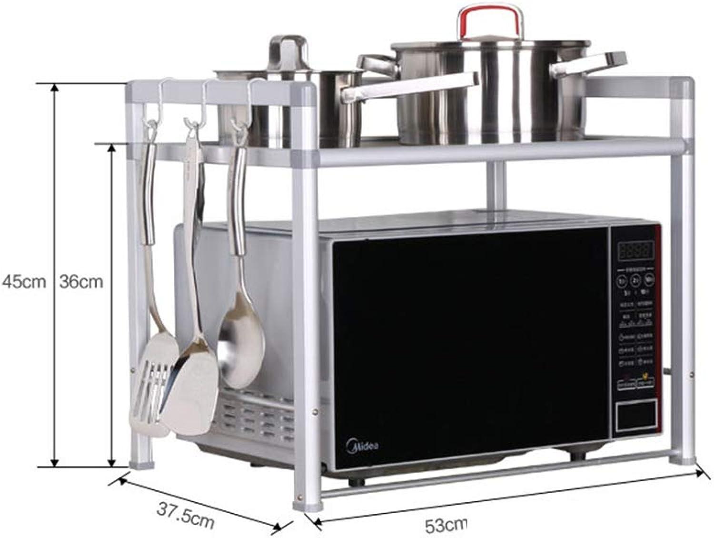 Kitchen Storage Shelf Microwave Oven Rack 2 Layer Space Aluminum Kitchen Storage Rack Oven Rack Seasoning Bottle Rack Organisation (Size   Width-53cm)