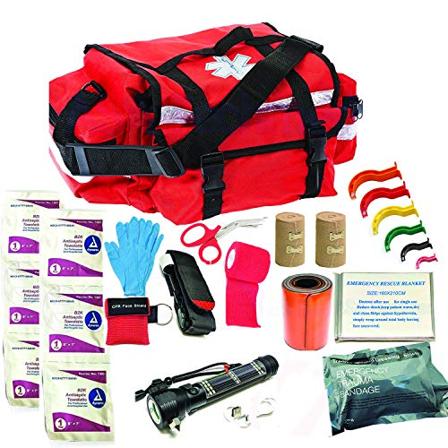 Deluxe Stocked Large EMT Trauma Bag First Aid Kit Medical EMS Emergency Medical Supplies First Aid Responder Set - For Outdoors, Work, Travel, Sports, Natural Disaster, Vehicle, Lifeguards, Paramedics