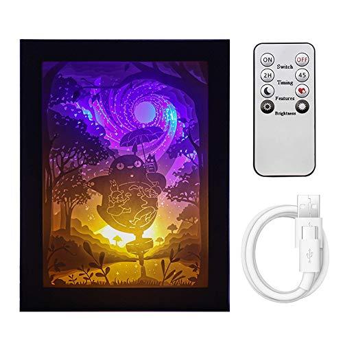 SXFuture Cajas De Luz Papercut con Control Remoto, 3D Shadow Box Lámpara De Noche con Luz LED, Luz Decorativa De Humor para Niños Y Adultos, Luz De Noche para Dormitorio De Bebés Y Niños