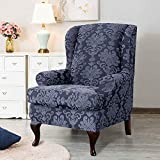 Jacquard Wing Chair Slipcovers, 2-Piece High Elasticity Wing Back Wingback Armchair Chair with Arms Easy Fitted Sofa Cover Covers Full Protection Furniture Protector