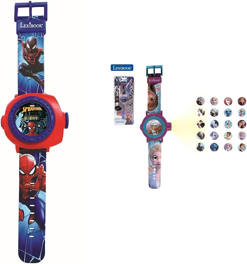 Lexibook Reloj Correa Ajustable Pantalla Digital con 20 Proyecciones De Spider-Man + Frozen 2 Reloj Correa Ajustable Pantalla Digital con 20 Proyecciones De Elsa, Anna Y Olaf Niñas-Azul Y Morado