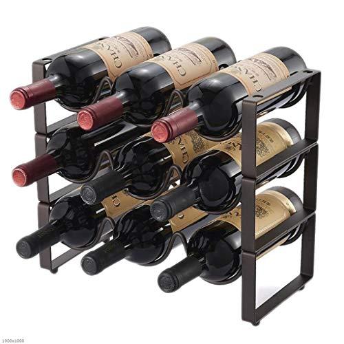 TX ZHAORUI Vloerstaande Wijnrek Smeedijzer Combinatie Wijnrek Wijnrek Wijnopslag Rek Huisdecoratie Afneembare Flessenrek