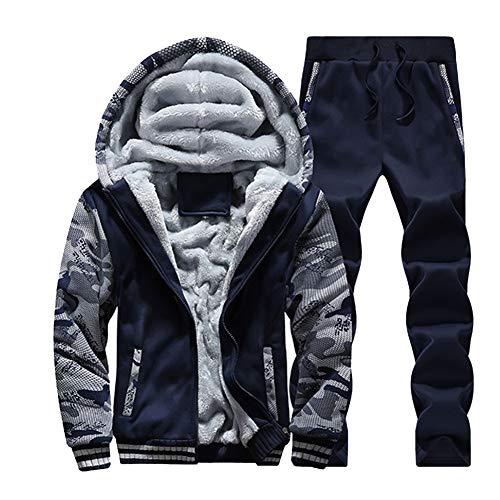 DaiHan Hombres Forro de Piel sintética Sudaderas con Capucha Camuflaje Conjunto de Abrigo de Sudadera y pantalón Chándal de Traje Deportivo