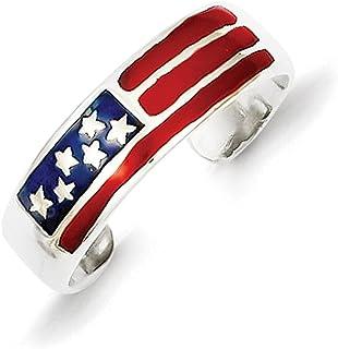 Lex & Lu Sterling Silver Enameled Flag Toe Ring