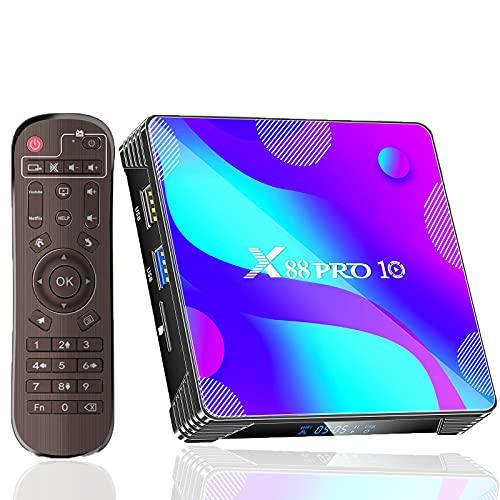 Android TV Box 11.0,Android Box 2GB Ram 16GB ROM X88PRO10 RK3318 Quad Core 64bit Supports 2.4G+5G Dual Wi-Fi BT 4.0 USB 3.0 4K 100M Internet Smart TV Box Media Player