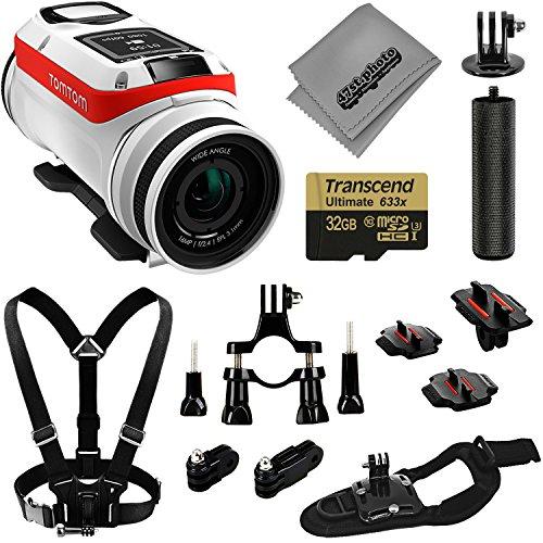 TomTom Bandit Action Camera 4K GPS 32GB Basic kit accessori + petto e cinturino da polso + Bike Mount + Opteka impugnatura + adattatore treppiede