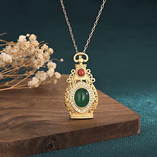 Cosaike Feng Shui curación Collar Afortunado Botella Encanto Verde/Rojo calcedonia carlian Colgante Collar Collar Oro Plateado Riqueza Amuleto atraer Prosperidad Amor Suerte Dinero Dinero
