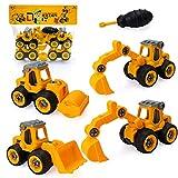 Sinwind Excavadora Juguete para Niño Chico Niña 2 3 4 5 Años, Mini Desmontar y Ensamblarde Juguete de Vehículo de Construccion de Truck de Retroexcavadora de Tractor de Excavadora de Playa(Naranja)
