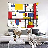 Tapiz abstracto con diseño de mosaico para colgar en la pared y decoración del hogar para dormitorio, sala de estar, decoración de dormitorio (60 x 51 pulgadas)