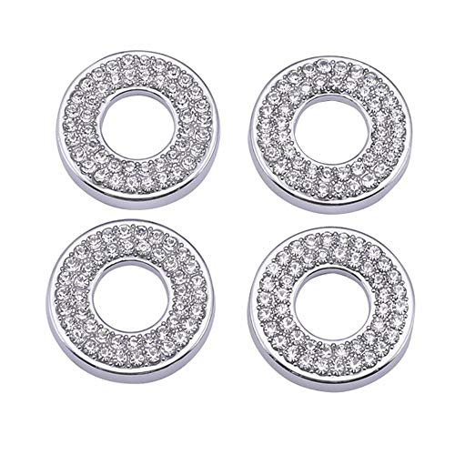 YUWATON Car Interior Bling Accessories fit for Mercedes Benz BMW MINI Chevrolet Cadillac Ford Dodge Prosche Car Bling Accessories Car Door Lock Pull Rod Bolt 3D Rhinstone Decals Cover 4Pcs/Set(silver)