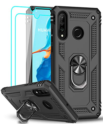 LeYi für Huawei P30 Lite Hülle P30 Lite New Edition Handyhülle mit Panzerglas Schutzfolie(2 Stück),360 Grad Ring Halter Handy Hüllen TPU Cover Bumper Hülle Schutzhülle für Huawei P30 Lite 2020 Schwarz