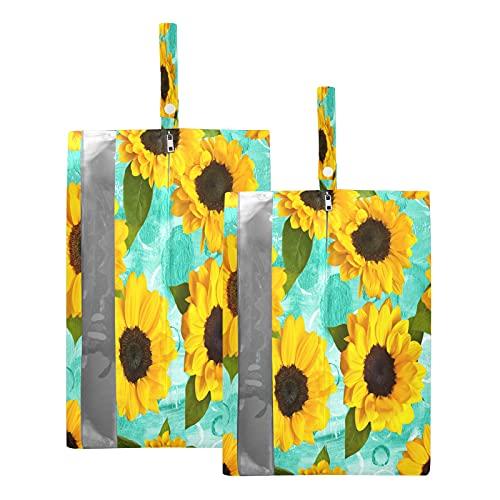 F17 Bolsas de viaje para zapatos de girasol, flores florales, bolsa de almacenamiento, impermeable, portátil, ligera, bolsa de almacenamiento para hombres y mujeres, 2 unidades
