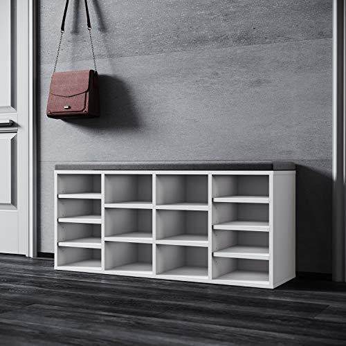 SONNI Schuhschrank mit Sitzbank, Schuhregal Weiß Holz, mit verstelbaren Einlegeböden, mit Stauraum Schuhablage, mit Grau Sitzkissen, B103.5xT30xH48cm