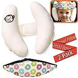 Confezione da 2 - Set di Supporto per la Testa del Bambino - Supporto per Collo e Testa Rilievo del Collo, Cinturino per Fascia per seggiolino Auto, Protezione Completa per la Testa del Bambino