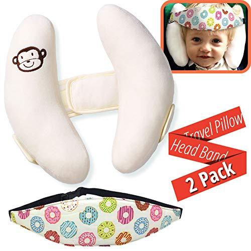 Confezione da 2 - Set di Supporto per la Testa del Bambino - Supporto per Collo e Testa Rilievo del Collo, Cinturino per Fascia per seggiolino...